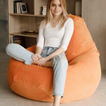 Кресло Мешок Груша Оранжевый Микровельвет