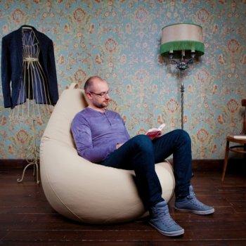 Большое кресло-груша OTTO, экокожа, цв. молоко