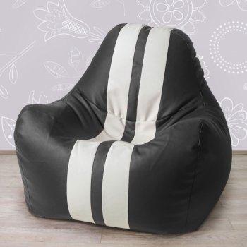 Гоночное кресло, экокожа, цв. черный + белые полосы