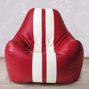 Гоночное кресло, экокожа, цв. красный + белые полосы